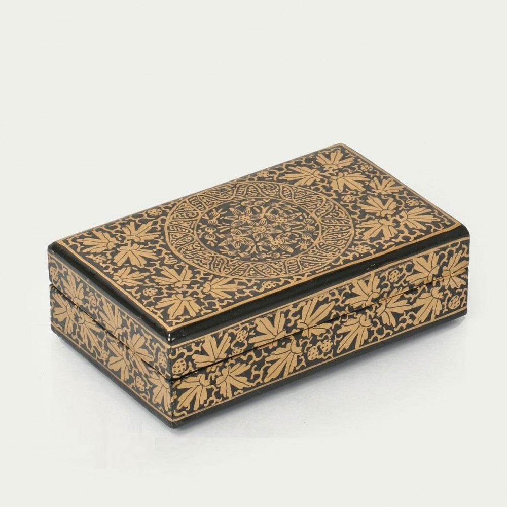 Antikcart Black And Gold Artwork Paper Mache Gift Box Top Views