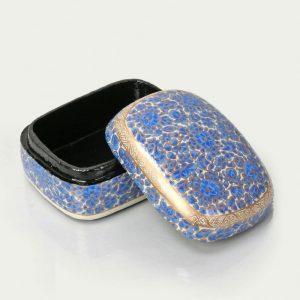 Antikcart Blue Floral Handmade Paper Mache Trinket Box