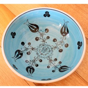 Antikcart Handmade Blue Mediterranean Ceramic Bowl - 20cm