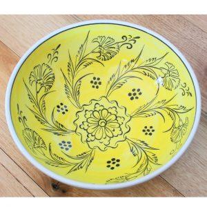 Antikcart Handmade Mediterranean Yellow Ceramic Bowl - 20cm