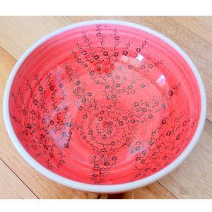 Handmade Red Ceramic Mediterranean Bowl - Antikcart Handmade Red Mediterranean Ceramic Bowl - 20cm