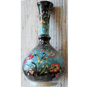 Antikcart Handpainted Blue Kabartma 'tear catcher' Ceramic Decor Vase Full view