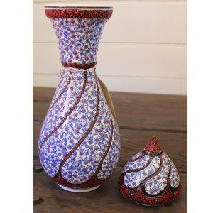 Antikcart Handpainted 'Bursa' Ceramic Swirled Vase - 40cm - full view