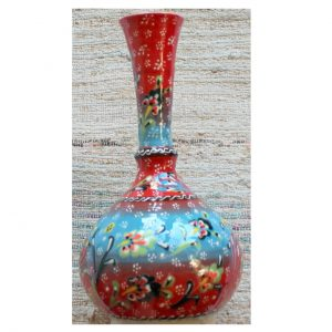 Antikcart Handpainted Red Kabartma 'tear catcher' Ceramic Decor Vase group