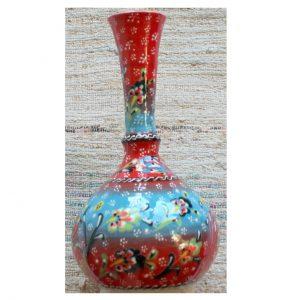 Antikcart Handpainted Red Kabartma 'tear catcher' Ceramic Decor Vase group