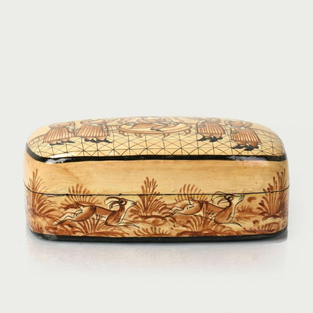 Mughal Darbar Pattern Hand Worked Papier Mache Storage Box - Antikcart