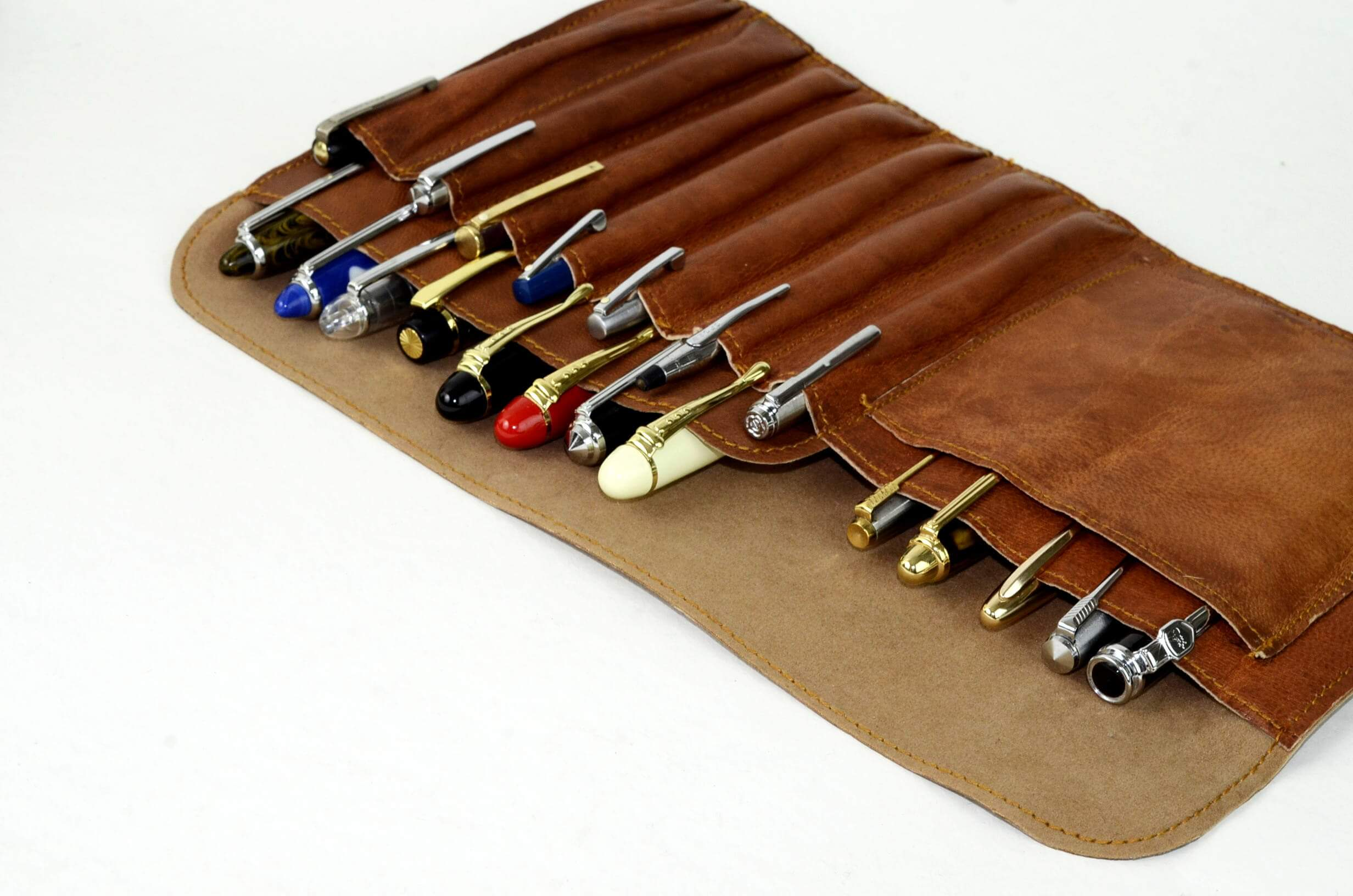 Leather fountain pen case genuine premium leather roll up