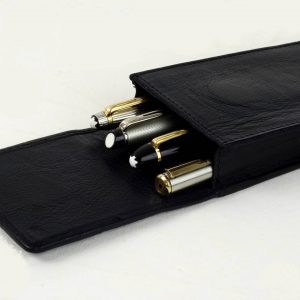 leather pen case black