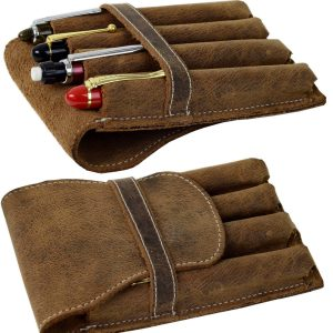 vintage rustic leather pen pouch