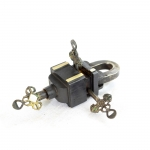 Antikcart Brass Antique Puzzle Lock with 3 keys collectible key