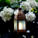 Antikcart Moroccan Style Beautiful Glass Artwork Small Hanging Lantern NIGHT lit view