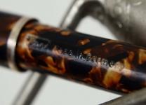 vintage-ero-german-piston-filler-Red-white-orange-marbled-barrel-Flex-GP-Fine-nib