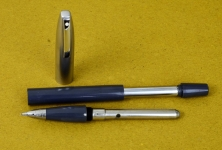 vintage-sheaffer-imperial-touchdown-II-grey-barrel-fountain-pen-triumph-F-nib