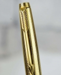 vintage-parker-75-insignia-gold-filled-barrel-fountain-pen-ballpoint-pen-set-with-14K-solid-gold-nib-Mint
