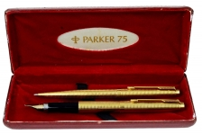 vintage-parker-75-insignia-gold-filled-barrel-fountain-pen-ballpoint-pen-set-with-14K-solid-gold-B-nib-Original-parker-Box