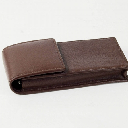 leather pen case choco brown