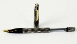 Vintage-Sheaffer-sterling-silver-imperial-touchdown-fountain-pen-14K-solid-gold-F-nib