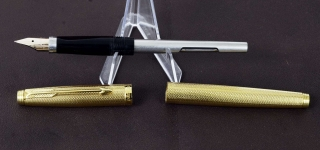 vintage-parker-75-gold-grain-dORGE-plated-barrel-14K-solid-gold-Medium-nib-France