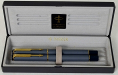 Vintage-parker-rialto-fountain-pen-rollerball-set-with-gold-plated-Broad-nib-with-box