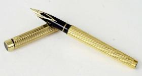 vintage-sheaffer-targa-1013-gold-spiral-barrel-14K-solid-gold-Broad-nib