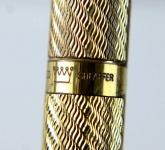 vintage-sheaffer-targa-1013-gold-spiral-barrel-fountain-pen-14K-solid-gold-Broad-nib