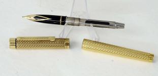 vintage-sheaffer-targa-1013-gold-plated-spiral-barrel-14K-solid-gold-B-nib
