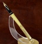 vintage-sheaffer-targa-1013-gold-plated-spiral-barrel-14K-solid-gold-Broad-nib
