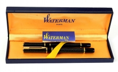 waterman-laureat-blue-marbled-fountain-pen-and-ballpoint-pen-set-23K-gold-plated-Medium-nib