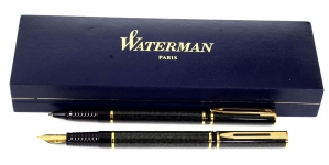 waterman-laureat-blue-marbled-fountain-pen-and-ballpoint-pen-set-23K-gold-plated-M-nib