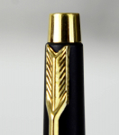 vintage-parker-arrow-classic-fountain-pen-matte-black-180-golden-plated-Broad-nib-UK