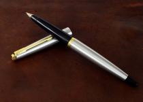 vintage-parker-45-flighter-fountain-pen-14karat-solid-gold-Broad-nib-USA-made