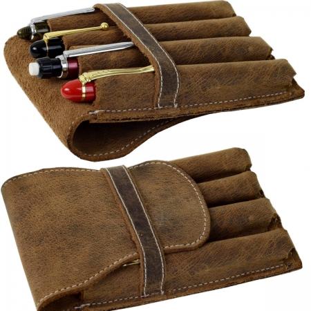 vintage rustic leather pen pouch