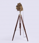 Sheesham Wood and Brass Tripod Floor Lamp vintage decor by Anikcart lit view