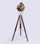 Sheesham Wood and Brass Tripod Floor Lamp vintage decor by Anikcart light off