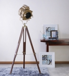 Sheesham Wood and Brass Tripod Floor Lamp vintage decor by Anikcart view